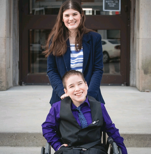 Emily and Joshua outside the Court House