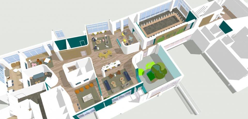 Aerial rendering of floorplan