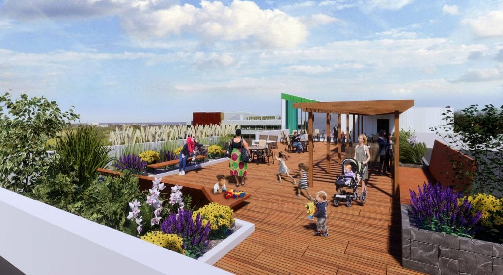 rooftop garden with families interacting