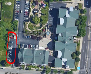 Aerial view of parking spots around RMH