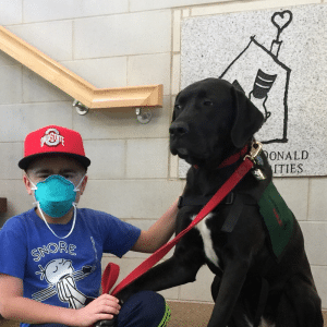Blake wearing a mask holding leash of black labrador dog.