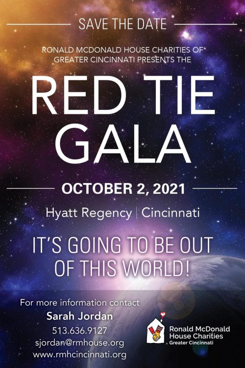 save the date for our red tie gala fundraising event on October 2, 2021. Contact Sarah Jordan at 513.636.9127 with questions.